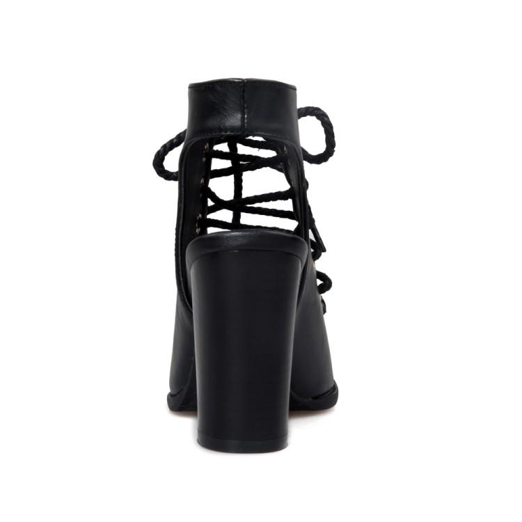 Стильный Открытый Toe Крест Шнуровка полым из Коренастый Супер Высокий каблук черный PU Насосы