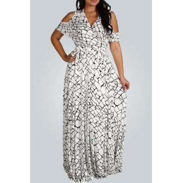 Fashion V Neck Short Sleeves Blocks Printed Nylon Beach Ankle Length Dress