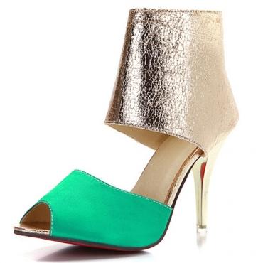 Модный круглый Peep Toe Цвет-блок Лоскутная стилет Супер Высокий каблук Зеленый PU Насосы