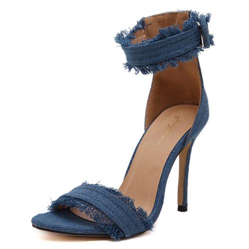 Trendy Aberto à frente oca-out Stiletto Super High Heel Sandals Luz PU