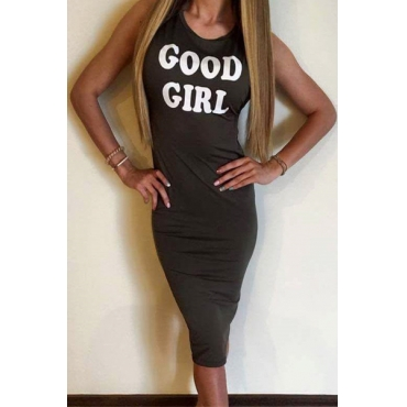 Euramerican Round Neck Sleeveless Letters Printed Dark Green Cotton Sheath Knee Length Dress