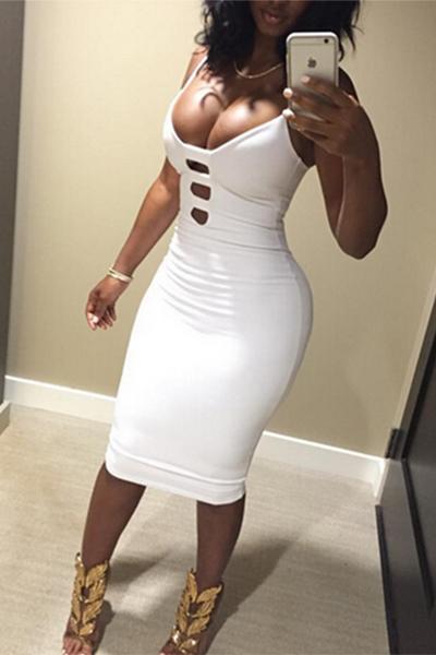 Sexy Sheath Knee Length Dress V Neck Spaghetti Strap
