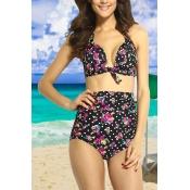 Sexy Flora Print Vintage hoch Tailliertes Bikini Set (S.