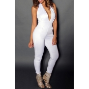 Charming V Neck Sleeveless Backless White Polyester One-piece Skinny Jumpsuits