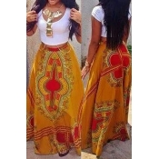 Bohemian Style Round Neck Short Sleeves Printed Qmilch Two-piece Skirt Set