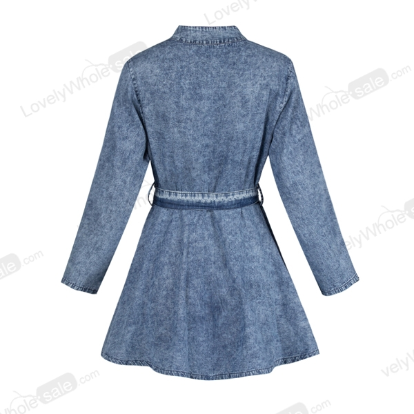 Mujeres Sexy manga larga Bodycon Club Denim Jean mini vestido