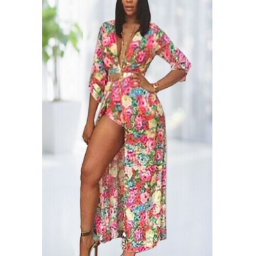 Beautiful Aand Special V Neck Long Sleeves Floral Print Polyester One-piece Regular Jumpsuit (without Belt)