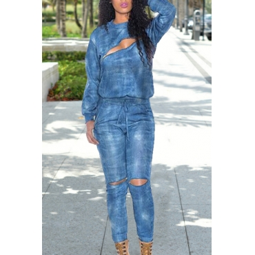 Trendy Round Neck Long Sleeve Sweatshirt + Elastic Waist Hollow Out Pants Women's Twinset