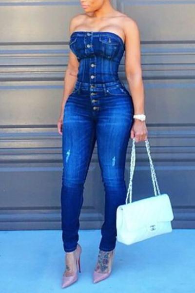 Модные бретелек однобортный дизайн синий бленды хлопка Цельный Тощий Комбинезоны