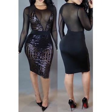 Sexy Rundhalsausschnitt mit langen Ärmeln Netz Patchwork Schwarz Pailletten Hülle Knie-Längen-Kleid