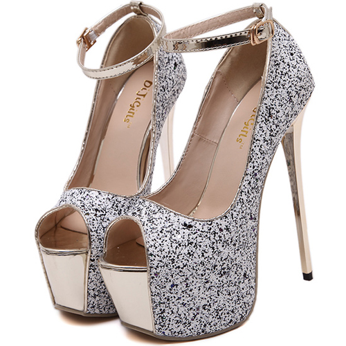Stylish Round Peep Toe Platform Stiletto Super High Heel White Suede Ankle Strap Pumps