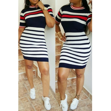 Leisure Round Neck Short Sleeves Striped Printed Qmilch Sheath Mini Dress