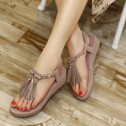 Elegante punta abierta de diseño de la borla plana de tacón bajo PU sandalias de color rosa