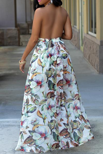 Halter encantador cuello en V sin respaldo de la impresión floral Longitud del vestido blanco de la gasa de la playa del tobillo