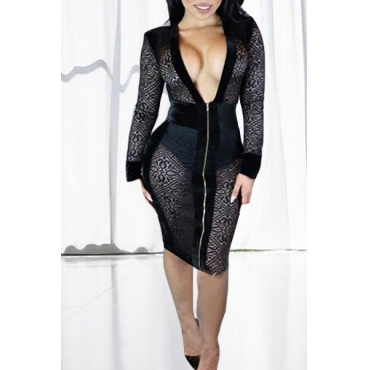 Sexy Deep V Neck Long Sleeves Patchwork See-Through Black Lace Sheath Knee Length Dress