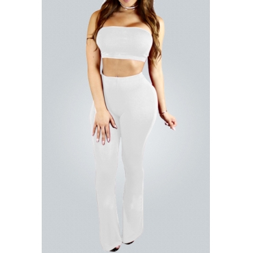 Contracted Style Strapless White Cotton Blend Two-piece Pants Set