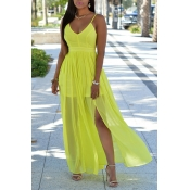 Sexy V Neck Sleeveless Drape Design Backless Fluorescent Yellow Chiffon Ankle Length Dress
