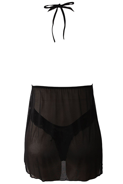 Sexy V Neck Backless See-Through Black Polyester Nightdress (Inclui Briefs)