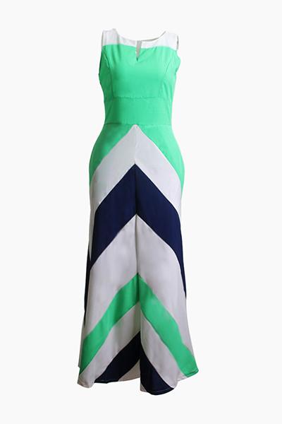 Bohemian V Neck mangas listrado azul impresso poliéster Ankle Comprimento do vestido