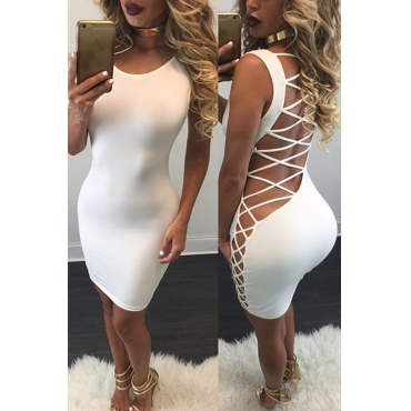 Sexy O Neck Sleeveless Back Strappy Hollow-out White Qmilch Sheath Mini Dress