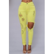 Trendy Mid Waist Broken Holes Yellow Blending Jeans
