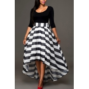 Stylish U-shaped Neck Half Sleeves Patchwork Striped Black Polyester Two-piece Skirt Set