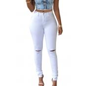 Fashion High Waist  Broken Holes White Cotton Pants