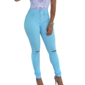 Fashion High Waist  Broken Holes Skyblue Cotton Pants