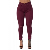 Fashion High Waist  Broken Holes Wine Red Cotton Pants