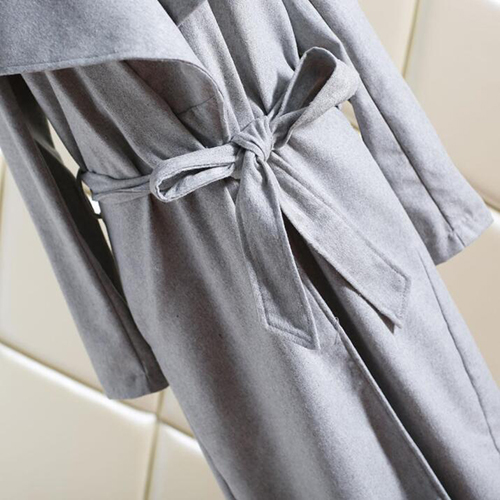 Euramerican Turndown Collar Long Sleeves Lace-up Polyester Wool Coats