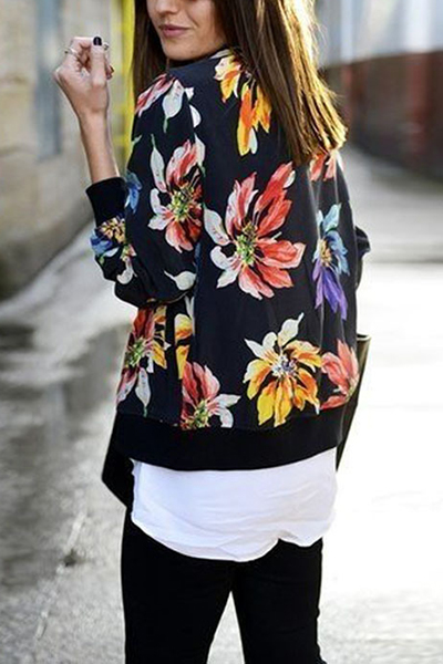 Ethnic Style Round Neck Long Sleeves Floral Print Black Satin Coats