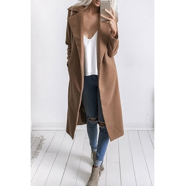 Trendy Turndown Collar Long Sleeves Khaki Trench Coats