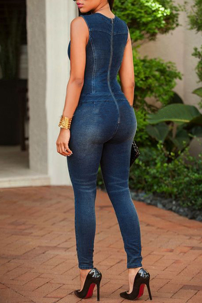 Sexy Deep V Neck Sleeveless Hollow-out Blue Cotton One-piece Skinny Jumpsuits