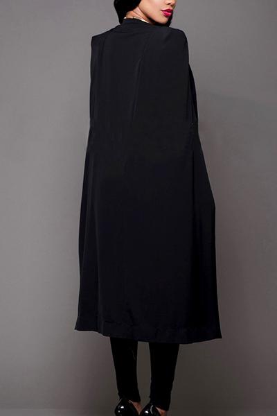 Euramerican Cloak Design Black Healthy Fabric Long Trench Coats