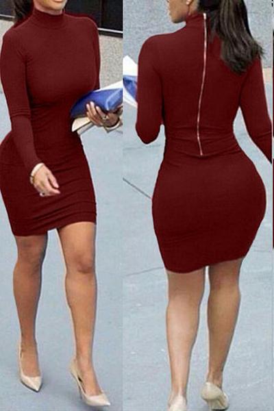 contraído cuello mandarín estilo de mangas largas vino diseño de la cremallera de algodón rojo de mini vestido de la envoltura de mezcla