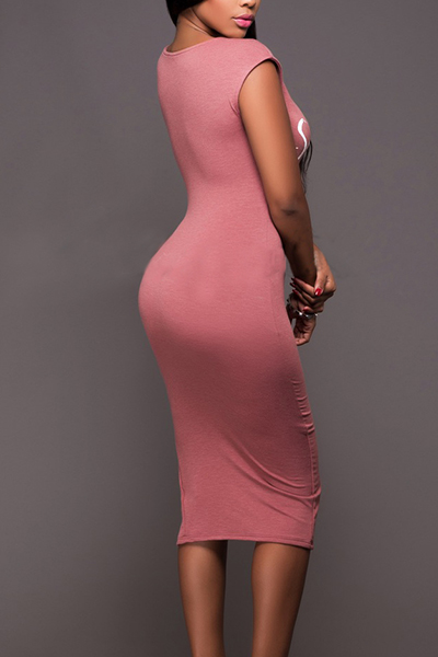 Leisure Round Neck Sleeveless Zipper Design Pink Cotton Sheath Knee Length Dress