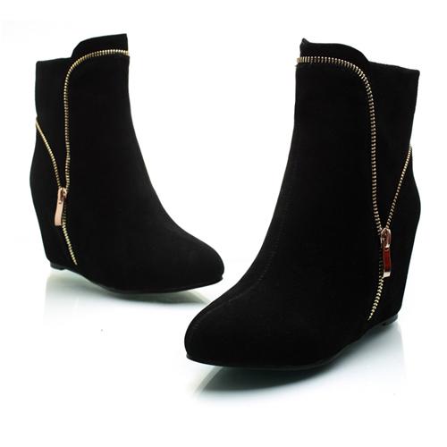 moda señaló diseño de la cremallera punta cerrada de tacón alto botas de ante negro de tobillo