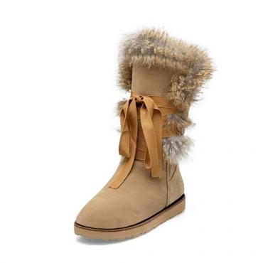 inverno rodada toe lace-up salto baixo de damasco botas de neve PU planas