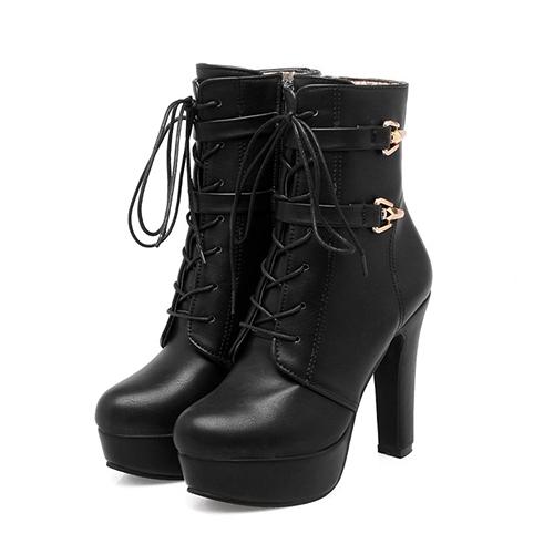 Стильный круглый носок на шнуровке коренастые супер высокой пятки черный PU короткие сапоги