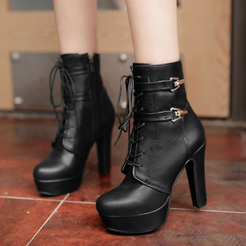 Stylish Round Toe Lace-up Chunky Super High Heel Black PU Short Boots