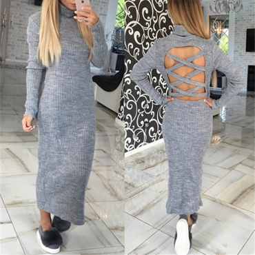 Trendy Turtleneck Long Sleeves Hollow-out Grey Acrylic Ankle Length Dress