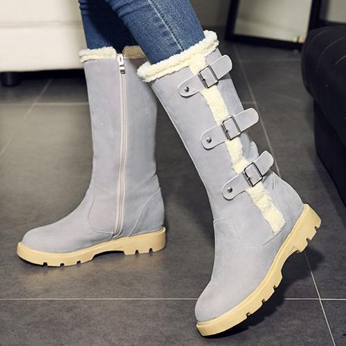 Стильный круглый дизайн носок молния середины пятки серый PU середины икры сапоги снега