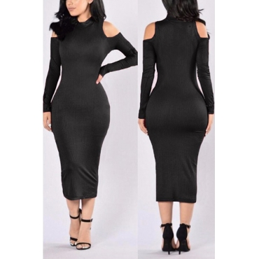 Euramerican Turtleneck Long Sleeves Hollow-out Black Cotton Sheath Mid Calf Dress