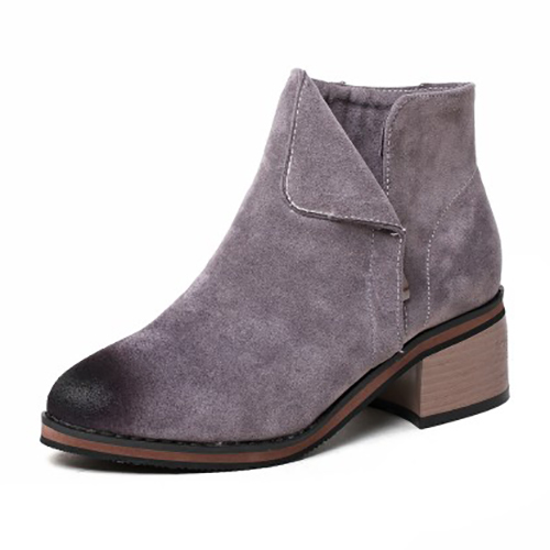 stylish toe chunky mid heel grey suede ankle boots