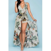 Charming Halter V Neck Backless Floral Print Apricot Chiffon Beach Ankle Length Dress