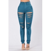 Trendy High Waist Broken Holes Blue Denim Skinny Pants