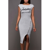 Leisure Round Neck Sleeveless Zipper Design Grey Cotton Sheath Knee Length Dress