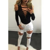 Sexy Deep V Neck Long Sleeves Hollow-out Black Qmilch Blouses