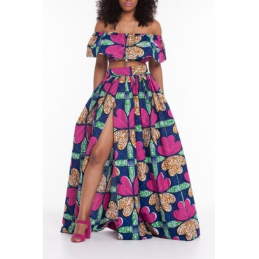 Stylish Strapless Short Sleeves Floral Print High Split Purple Qmilch Two-piece Skirt Set