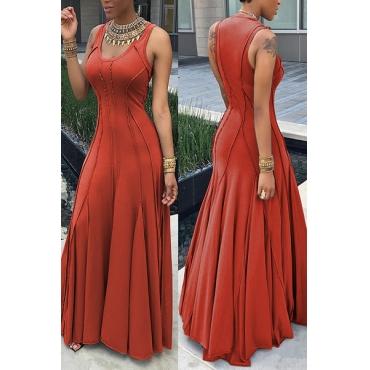 Fashion Boat Neck Sleeveless Ruched Orange Cotton Floor length Dress